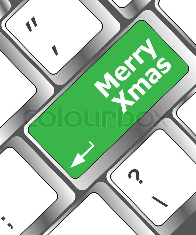 Merry Christmas Message Keyboard Enter Key Button Xmas Stock