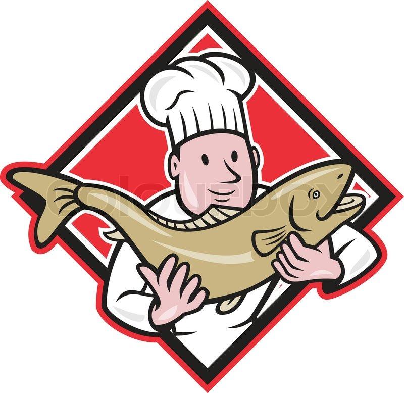 Chef-Koch- Handhabung Lachsforelle Fisch-Cartoon   Vektorgrafik ...