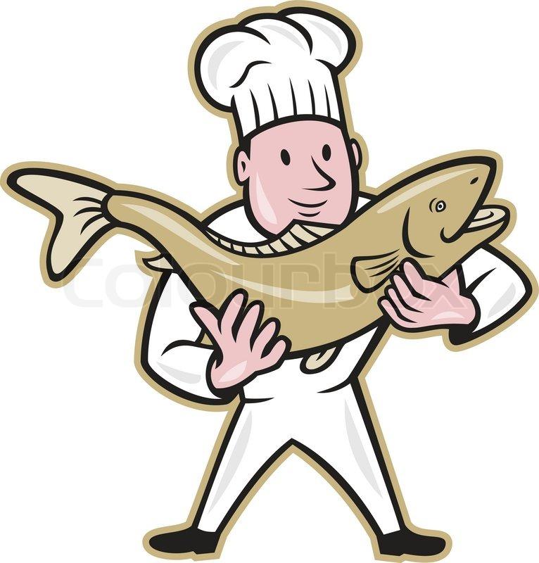 Cartoon Fish Face a Trout Salmon Fish Facing