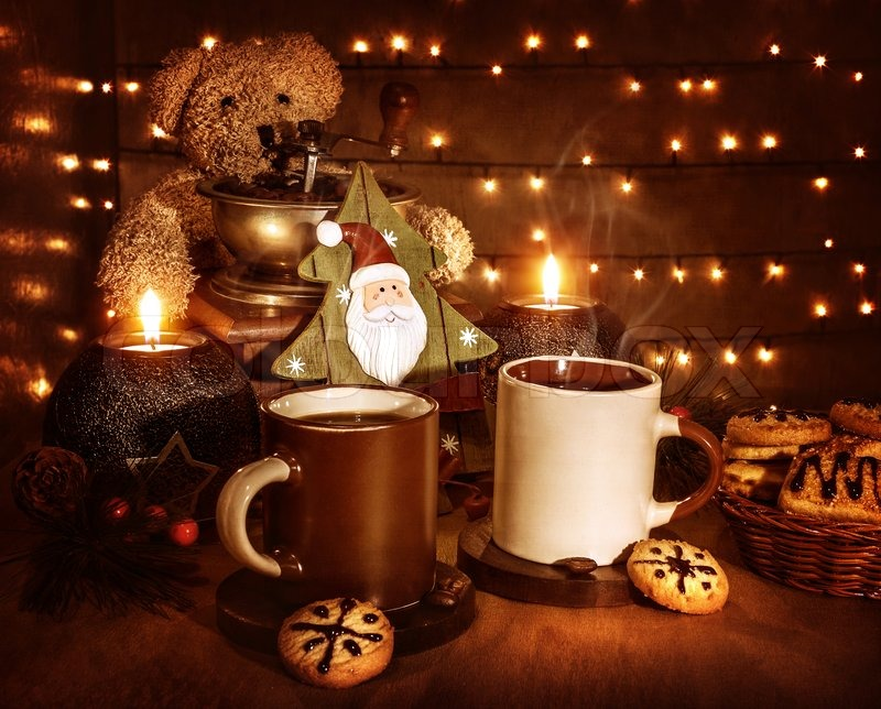 christmas still life tasty traditional dessert two cups