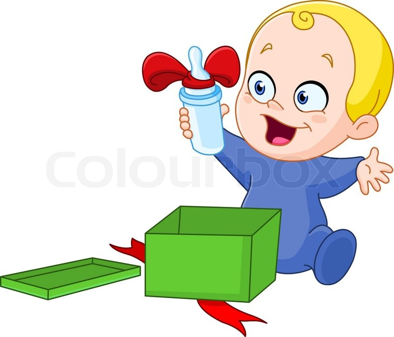 Baby Gift Vector : Baby with christmas gift stock vector colourbox