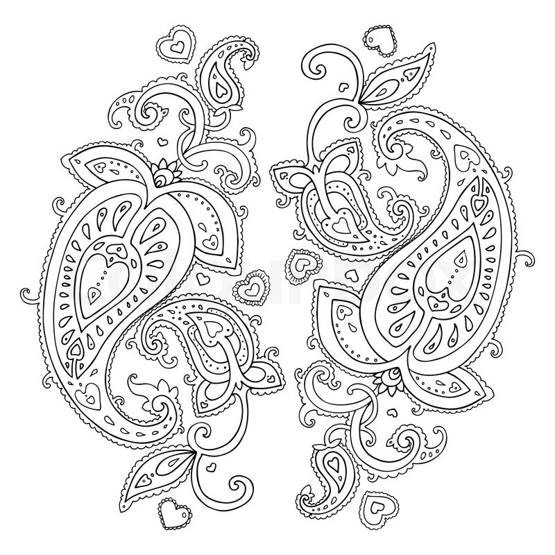 Line Drawing Jquery : Paisley ethnic ornament vector illustration isolated