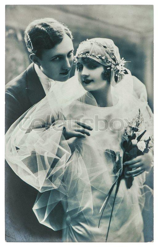 Paris France Circa 1920 Antique Wedding Photo