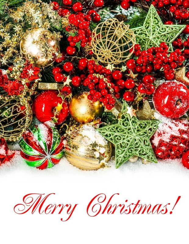 Colorful christmas decorations in red, gold, green   Stock ...