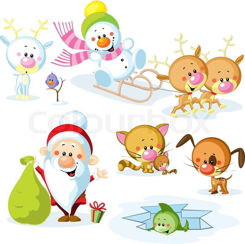 Santa Claus mit Schneemann, niedliche Tiere Weihnachten - Rentier ...