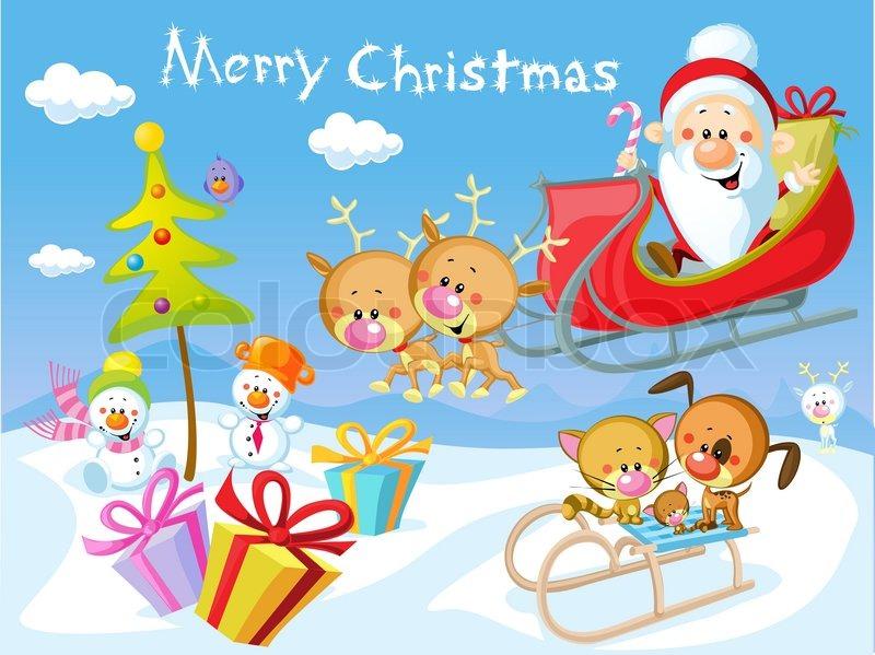 Of merry christmas design with santa claus sleigh christmas tree