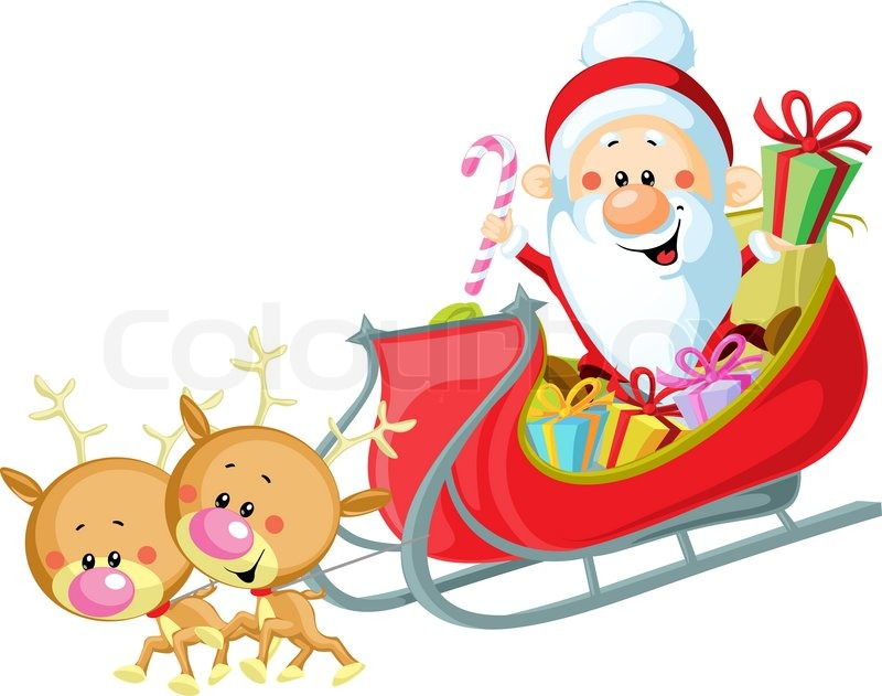 santa sleigh and reindeer isolated on white background vector - Santa With Reindeer