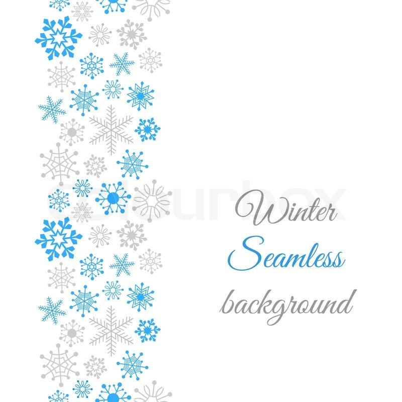 Winter border seamless background with snowflakes vector colourbox