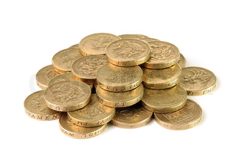 Haufen Britisches Pfund Münzen Stockfoto Colourbox