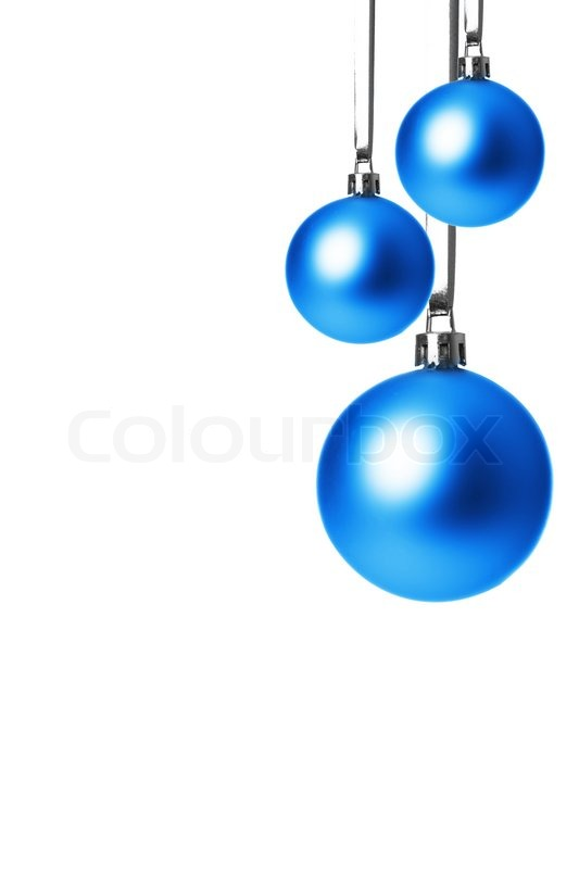 Blue christmas balls isolated with white background
