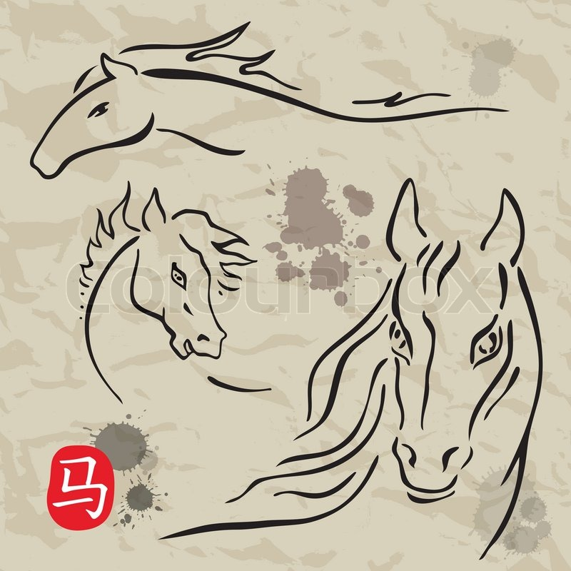 Japanese traditional red pattern set royalty free stock photography - Horses Symbolscollection Chinese Zodiac 2014 Stock