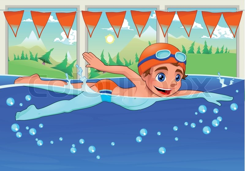 Young Swimmer In The Swimming Pool Funny Cartoon And Vector Illustration Stock Vector