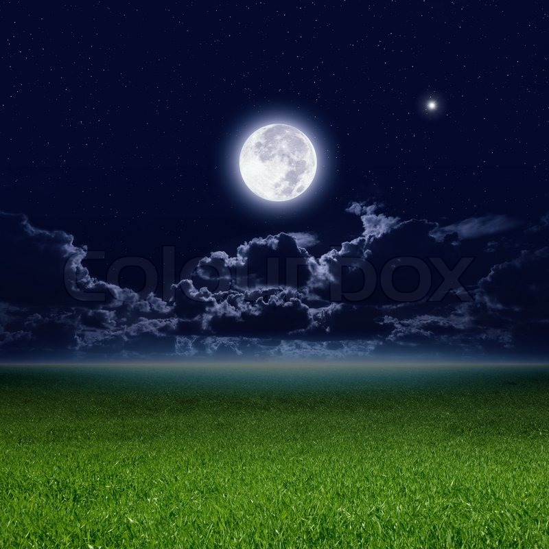 Full Moon In Dark Night Sky With Stars And Clouds Green Grass Field Elements Of This Image Furnished By NASA
