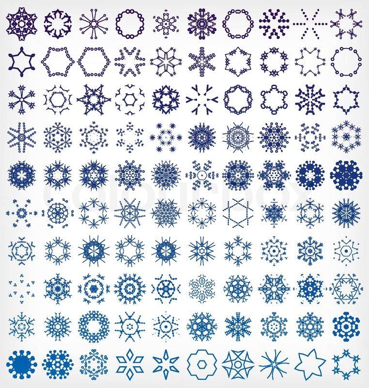 set winter schneeflocke symbole vektorgrafik colourbox. Black Bedroom Furniture Sets. Home Design Ideas