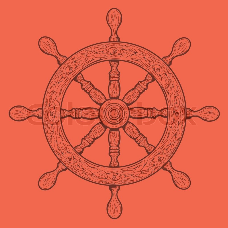 Detailed Brown Outlines Nautical Rudder Isolated On Orange