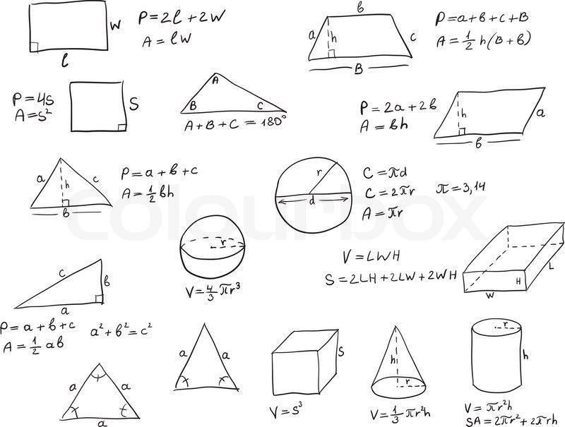 hintergrund mit hand geschrieben geometrie formeln und geometrische formen und zahlen auf wei em. Black Bedroom Furniture Sets. Home Design Ideas