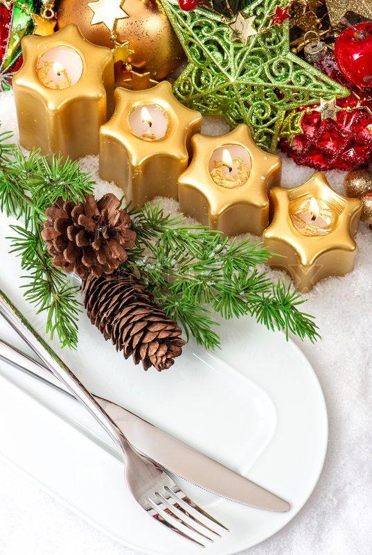 Christmas Table Place Setting Stock Photo Colourbox