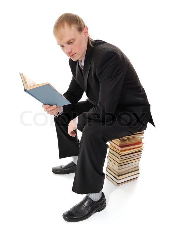 Man Reading Book Stock Photo Colourbox