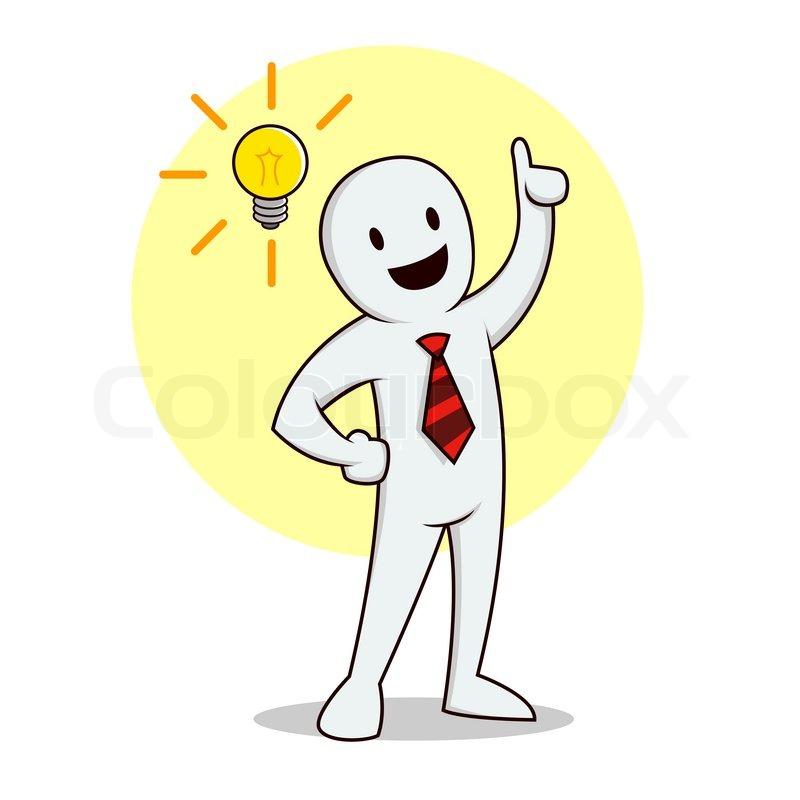 Vector Illustration Of A Businessman Having Bright Idea