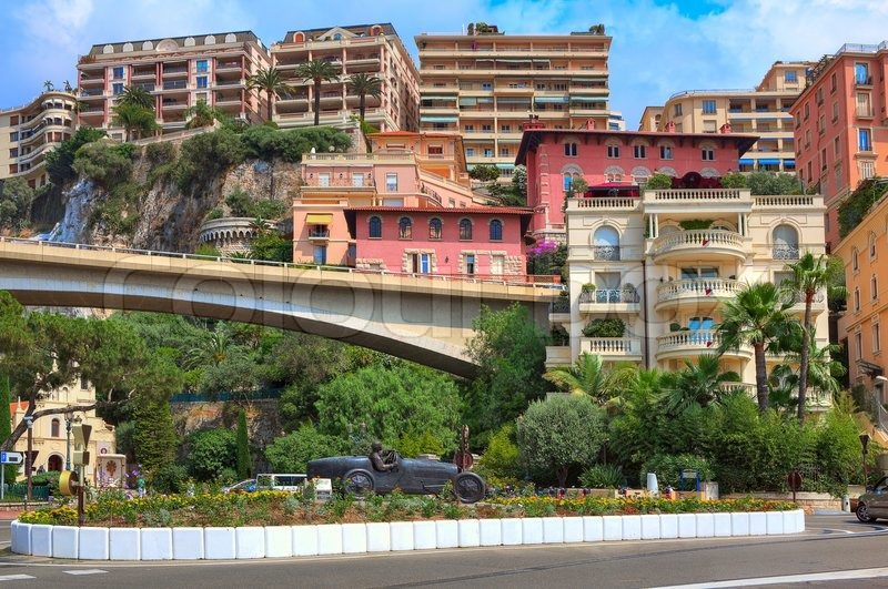 Colorful Buildings And Sculpture Of William Grover Williams In Bugatti  Racing Car  The First Winner Of Monaco Grand Prix On April 14, 1929 In The  Center Of ...