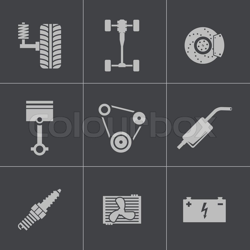 Vector schwarz Autoteile Symbole gesetzt | Vektorgrafik | Colourbox