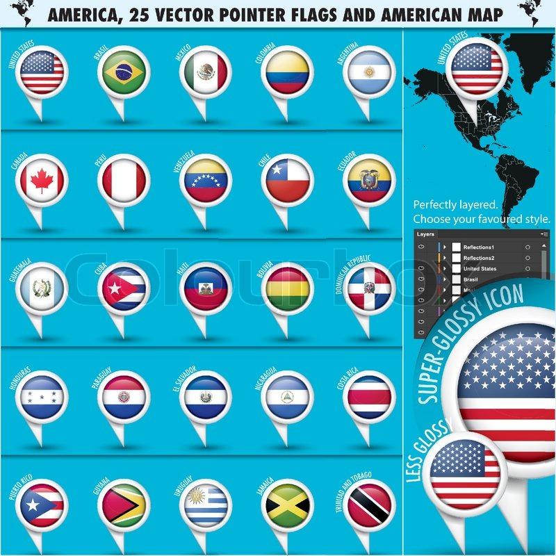 amerika pointer flag icons mit amerikanischer karte set1. Black Bedroom Furniture Sets. Home Design Ideas