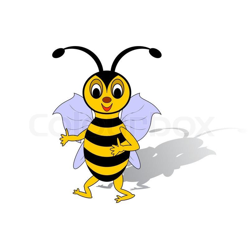 A funny cartoon bee isolated on a ... | Stock Vector ...