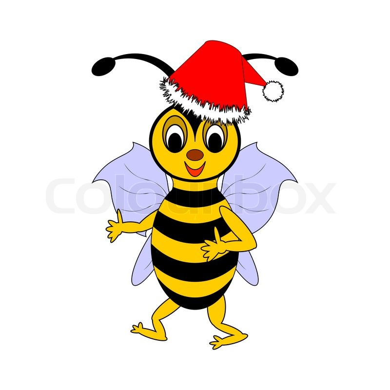 a funny christmas cartoon bee stock vector colourbox rh colourbox com