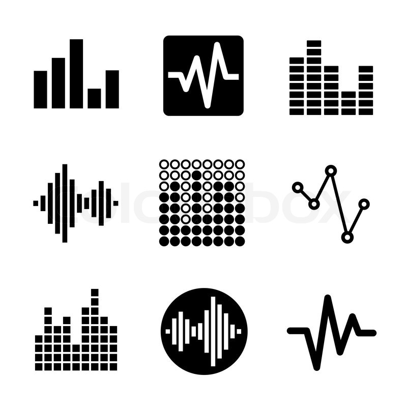 music soundwave equalizer graphics icons set  vector