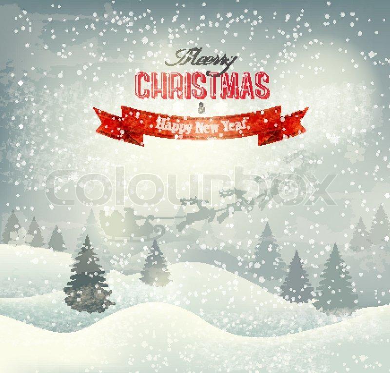 Weihnachten Winter Landschaft Hintergrund mit Santa Schlitten ...