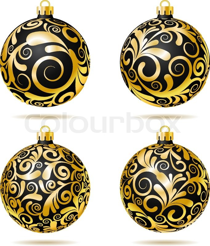Christbaumkugeln Schwarz Gold.Set Of Black And Gold Christmas Balls Stock Vector