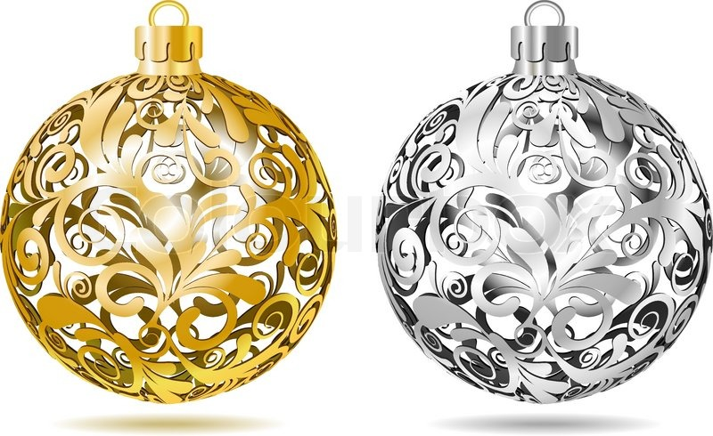 Gold and silver openwork christmas balls on white