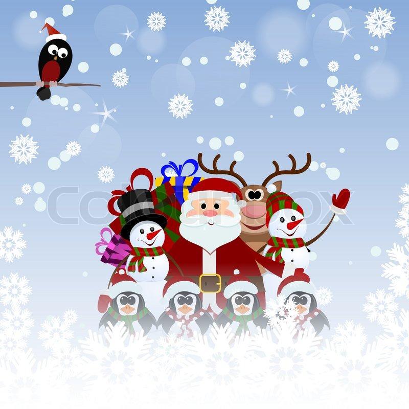 greeting christmas card with santa claus reindeer snowman penguins and bullfinch vector - Santa Claus Christmas Cards
