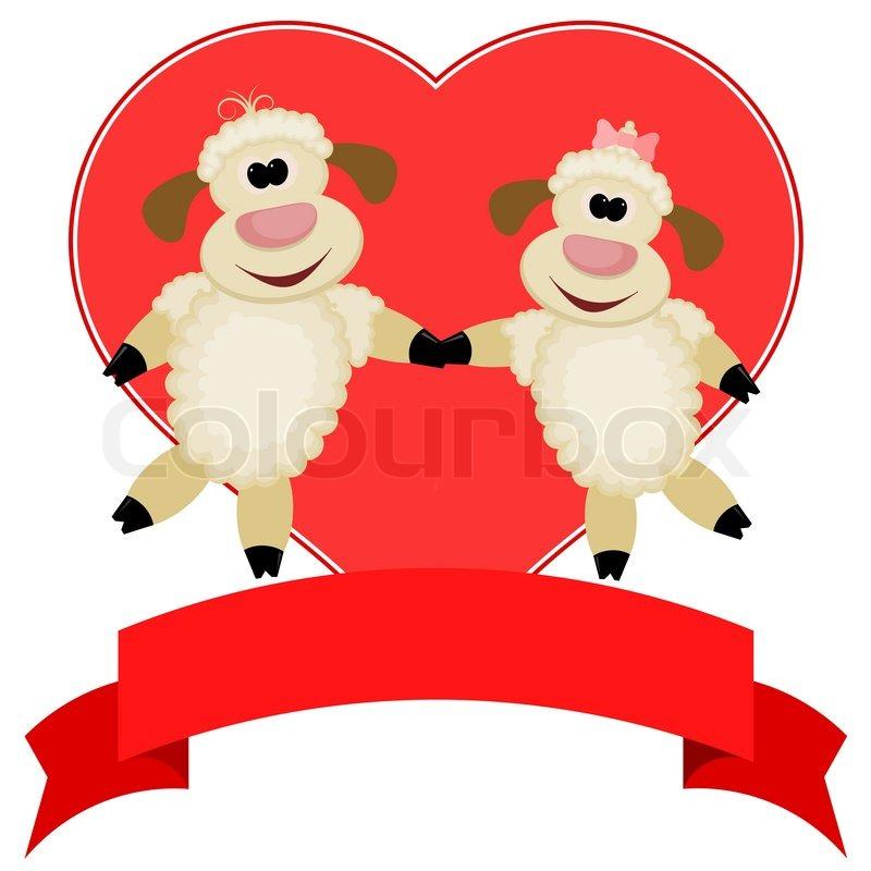 Zwei Schafe Auf Einem Hintergrund Von Roten Herzen   Komplimente Von Happy  Valentinstag | Vektorgrafik | Colourbox
