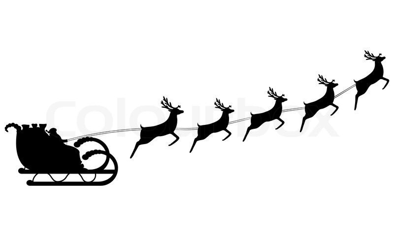 Santa Claus rides in a sleigh in harness on the reindeer ...