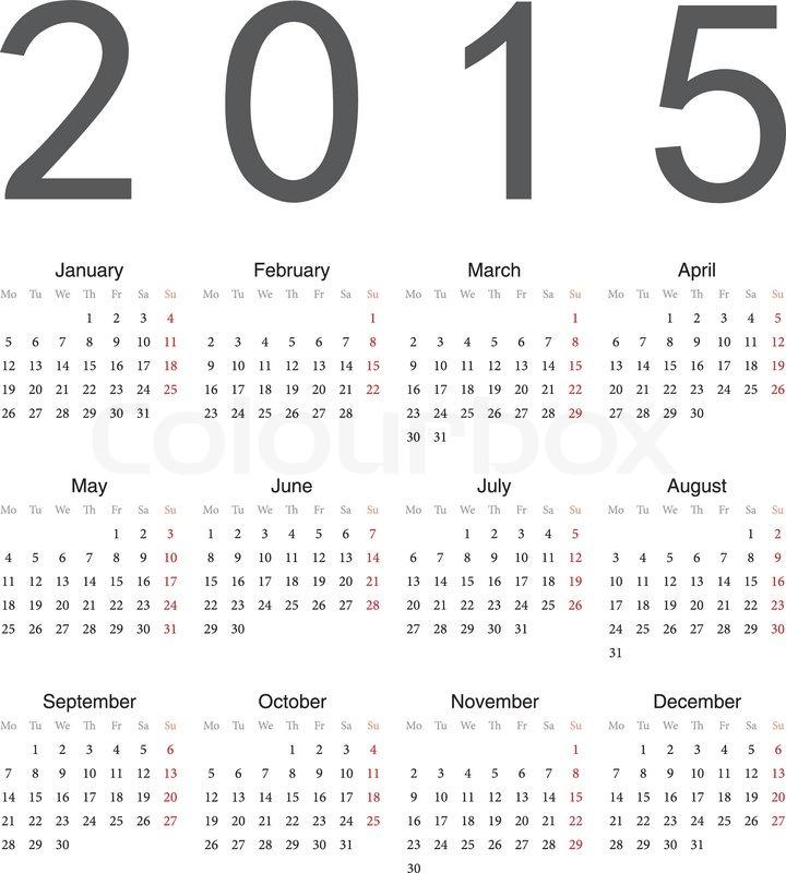 simple european 2015 year vector calendar stock vector colourbox