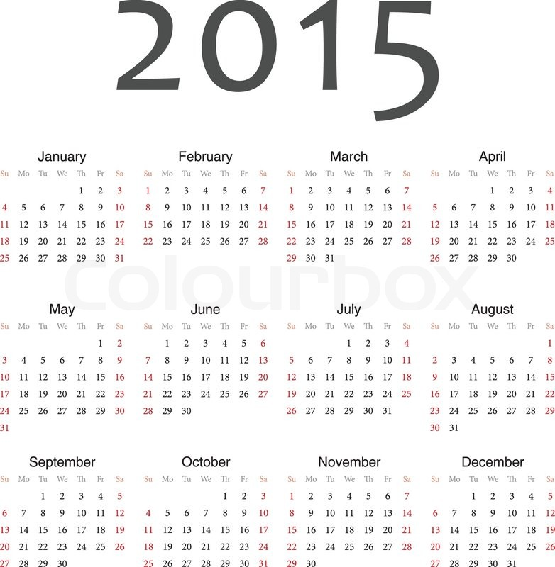 Simple European 2015 Year Vector Calendar Stock Vector Colourbox