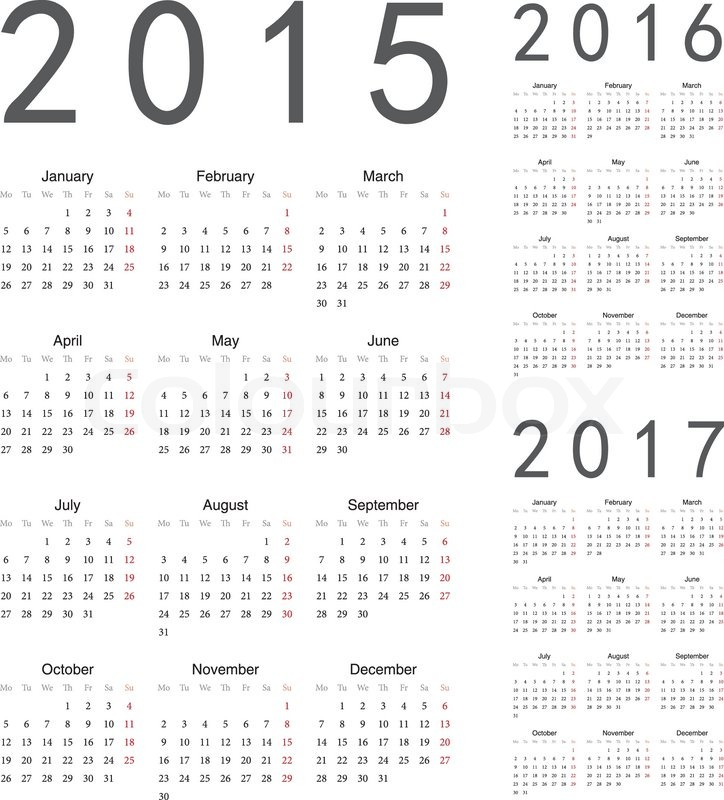 Simple european 2015, 2016, 2017 year vector calendars | Vector ...: colourbox.com/vector/european-2015-2016-2017-year-vector-calendars...