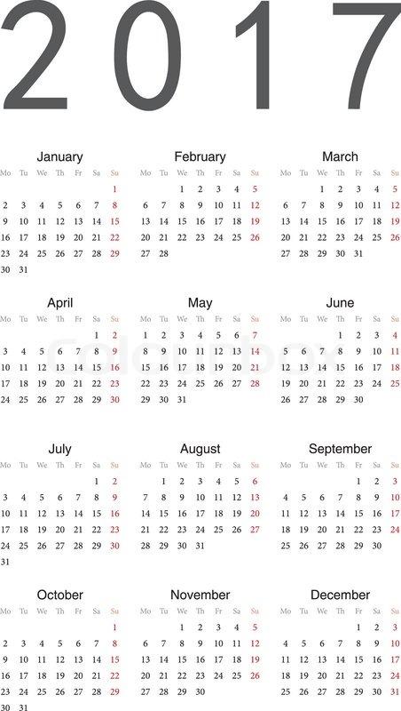 Simple European 2017 Year Vector Calendar Vector Colourbox