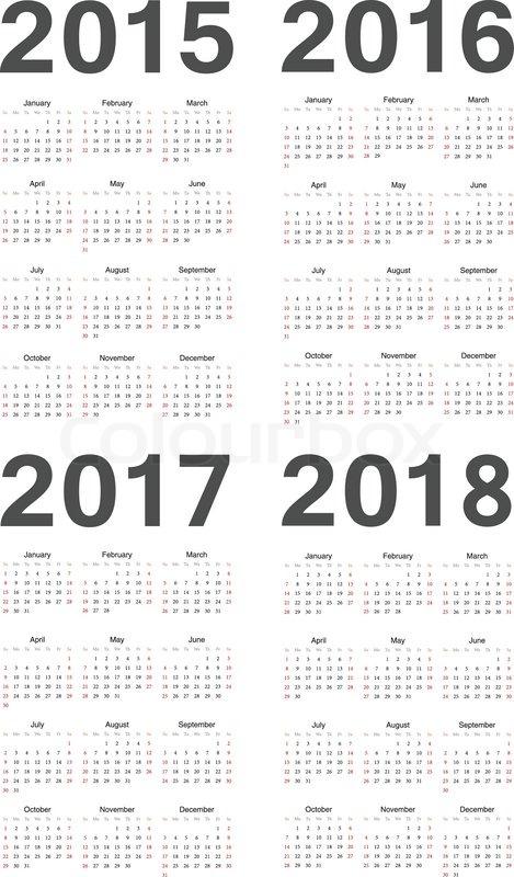Stock vector of 'European 2015, 2016, 2017, 2018 year vector calendars ...