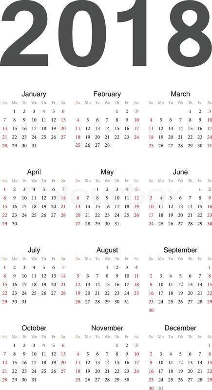 European 2018 Year Vector Calendar Stock Vector Colourbox