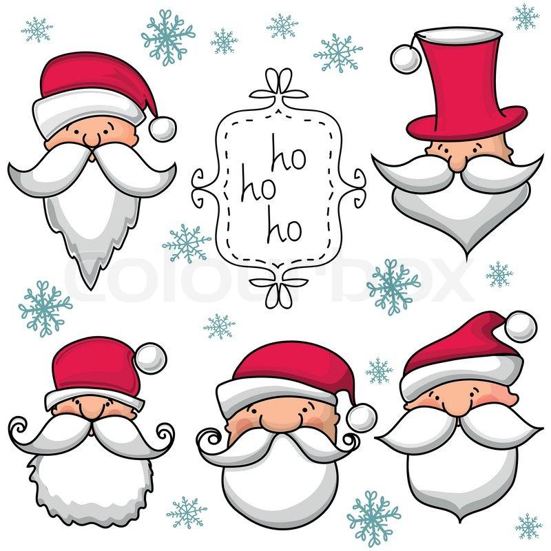 Weihnachten Santa Claus setwith | Vektorgrafik | Colourbox