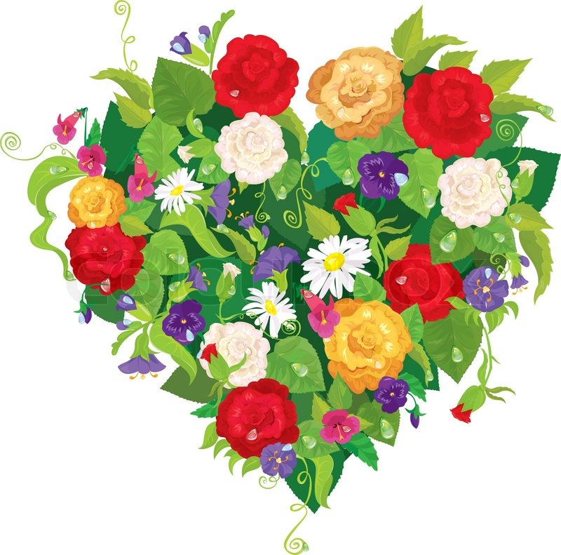 heart shape is made of beautiful flowers - roses, pansies, bell, Ideas
