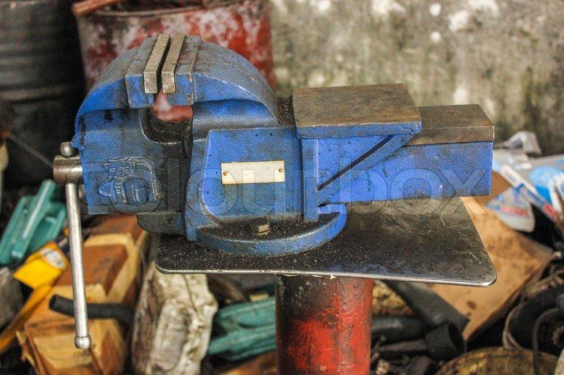 Equipment tools repair machine parts in garage, stock photo