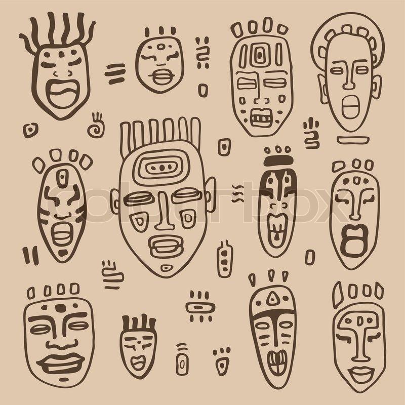 African Masks Set Ethnic Hand Drawn Vector Illustration