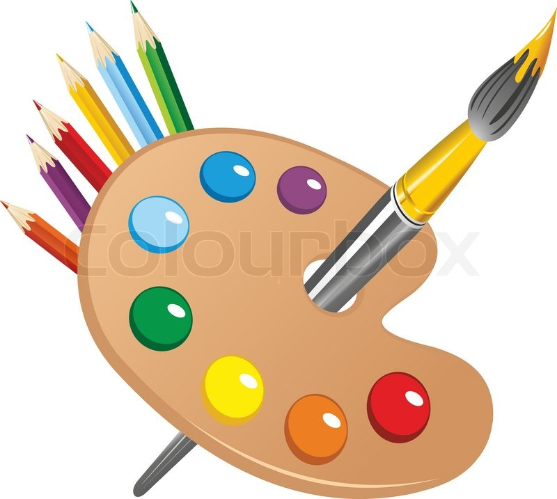 Art Palette With Paint Brush And Pencils Tools For Drawing Vector