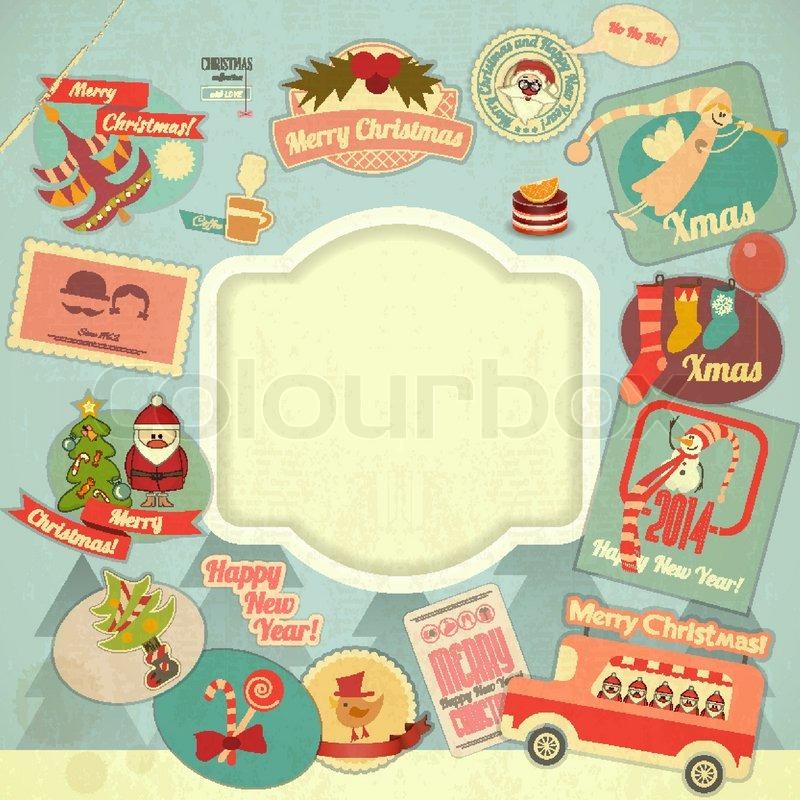 Retro Frohe Weihnachten Bezeichnung festgelegt | Vektorgrafik ...