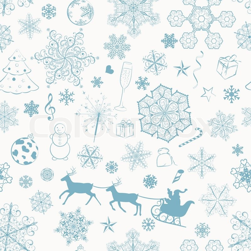 Christmas Seamless Pattern With Turquoise Snowflakes And Xmas Adorable Christmas Patterns