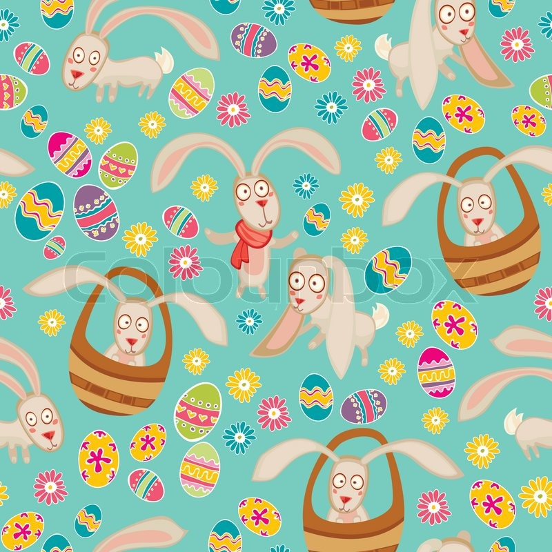 bright easter pattern with rabbits stock vector colourbox