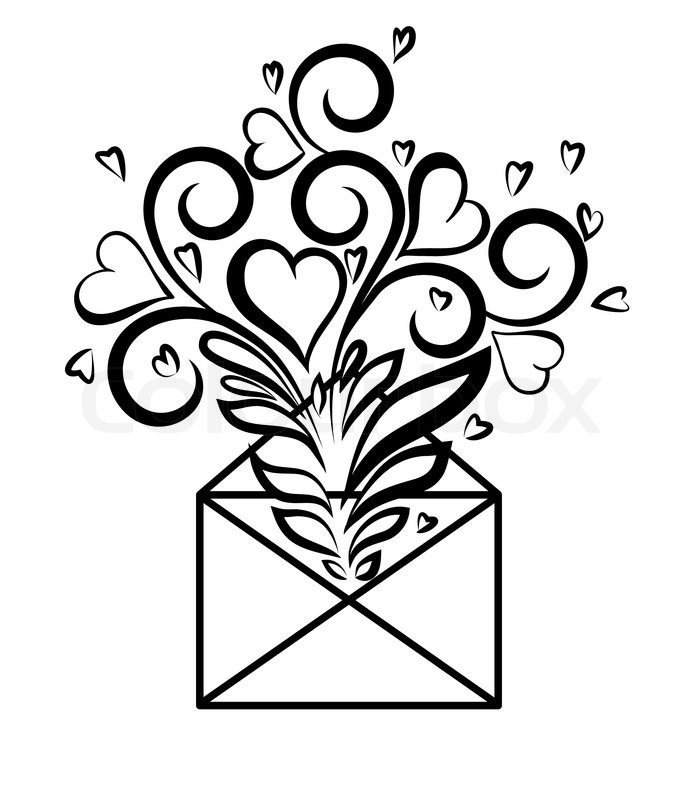 Envelope With Floral Design And Hearts The Symbol Of Love
